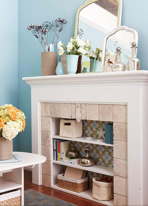 fireplace bookshelf plans